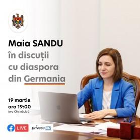 Maia Sandu invită moldovenii stabiliți în Germania la o discuție live