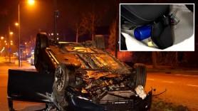 """FOTO // Un Volvo nou-nouț, cumpărat de o zi, distrus complet de șoferul care avea în mașină """"gaz de râs"""""""